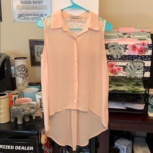 Peach lace back shirt
